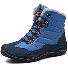 GJRRX Hombre Aire Libre Zapatos Impermeable Antideslizante Calientes Botines Planas Botas de Nieve Invierno Forro Calentar
