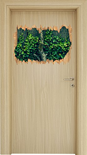 lten Zaun Holzdurchbruch im 3D-Look , Wand- oder Türaufkleber Format: 62x42cm, Wandsticker, Wandtattoo, Wanddekoration (Immergrün Hochzeit)