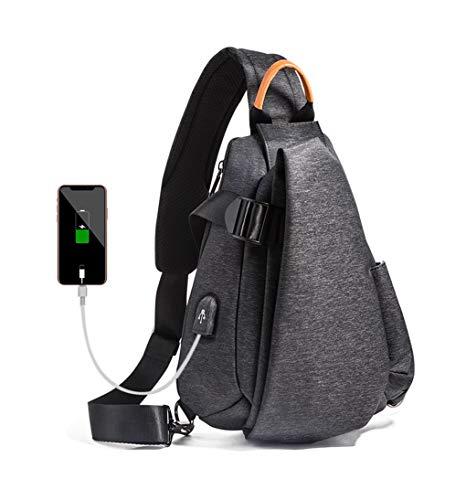JQXB Multifunktions Mode Männer Umhängetaschen USB Lade Brust Pack Kurztrip Messenger Bag Wasserabweisende Umhängetasche,Black -
