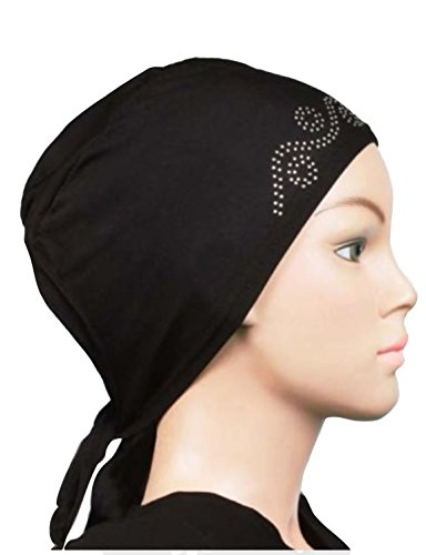 Cwen Collection Women's Poly Cotton Turban Hijab (Nd-Rtbbph-B_Black_Free Size)