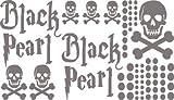 Autoaufkleber Sticker Aufkleber Set für Auto Schriftzug Black Pearl Totenköpfe (090 silbergrau)