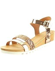Sopily - Zapatillas de Moda Sandalias Tobillo mujer brillante patentes tachonado Talón Plataforma 4.5 CM - Champán