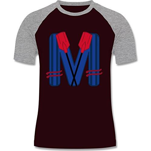 Anfangsbuchstaben - M Schifffahrt - zweifarbiges Baseballshirt für Männer Burgundrot/Grau meliert