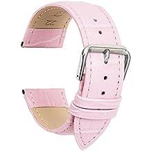 Ullchro Correa Para Relojs Recambios Cuero Auténtico Becerro Correa Reloj Bordes Cosidos - 12, 14, 16, 18, 19, 20, 21, 22, 24 mm Correa Reloj con Hebilla de Acero Inoxidable (18mm, rosa)