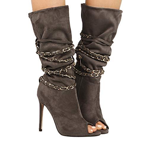 (MYMYG Damen Stiefeletten Elegante dünne Fersen High Heels Boots Offen Peep Toe Damen Peeptoe Plateau High Heels Stiefeletten mit Schnürsenkel Elegant Bogen Lace Up Schuhe)