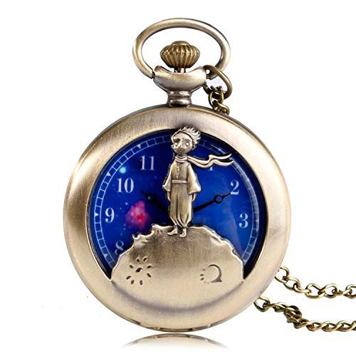 Taschenuhr Little Prince Design Quarz Taschenuhr für Herren blau Planet Zifferblatt Halskette Taschenuhr Geschenk