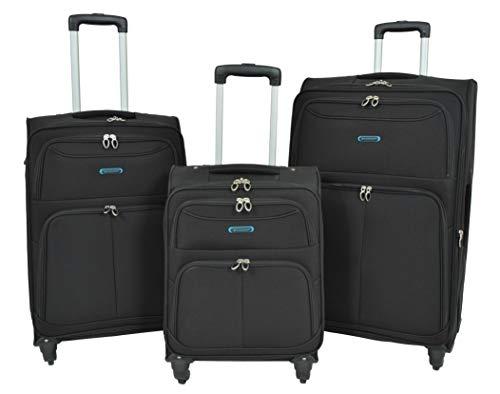 Leichte Koffer 4 Rad Gepäck SCHWARZ Weicher Fall Erweiterbar Reise Taschen - Mars (Full Set) (Schwarz Gepäck-sets Auf Verkauf)