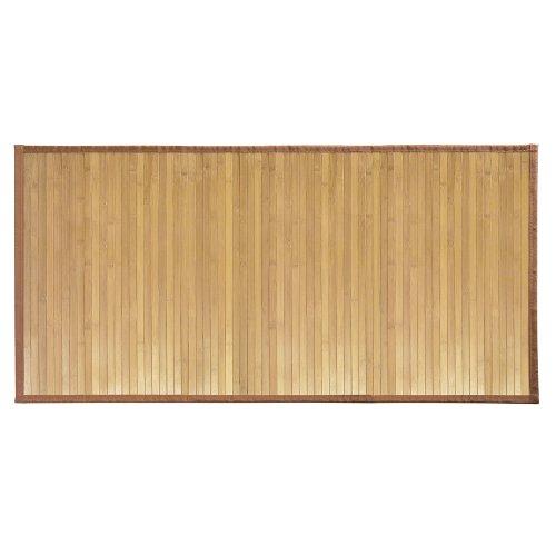 iDesign Fußmatte rutschfest, großer Duschvorleger aus Bambus, wasserabweisender Läufer für Badezimmer und Toilette, hellbraun - Läufer Teppich Holz