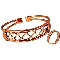 Magnetischer Kupfer Armband und Glatte oberfläche Ring Kombi Set mit Geschenkverpackung - Großer Ring: 22 -25mm preisvergleich bei billige-tabletten.eu