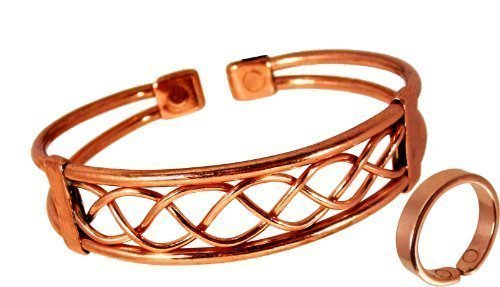 4d6a17fb4817 The Online Bazaar Magnetic Copper Bracelet and Smooth finish Ring Combi Set  (Medium  19
