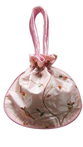 Mini Cordon en Satin Soyeux Sac de Soirée Sac à main avec motif floral brodé on-pale Rose