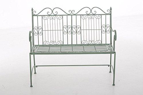 CLP Eisen-Gartenbank ADELE im Landhausstil, aus lackiertem Metall, 107 x 54 cm Antik Grün - 2