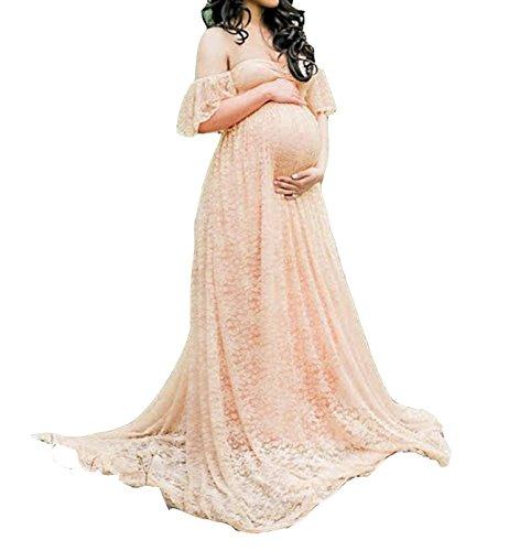 D-Pink Damen Elegant Schwanger Schwangerschafts Fotoshooting Lange Chiffon Spitze Brautkleid Maxi...