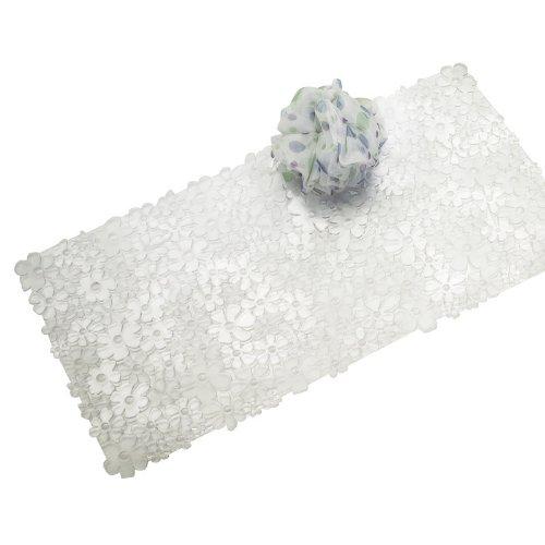 mDesign Alfombrilla de baño blanda con ventosas – Alfombra antideslizante para bañera de PVC robusto y resistente – Alfombra de ducha transparente con diseño de flores – Para baño, bañera o ducha