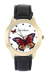 Jade Lebaum Donne Orologio Grosso Faccia Farfalla Quadrante nel Classico Nera Cinturino In Pelle Reloj De Damas JB202811G