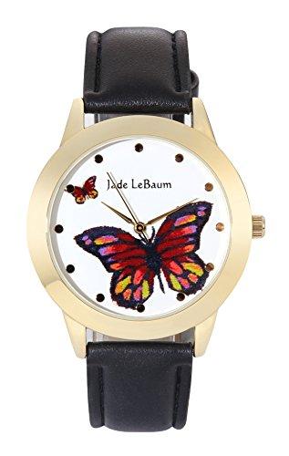 Jade LeBaum Frauen Uhr Groß Gesicht Schmetterling Zifferblatt Klassisch Schwarzes Lederarmband Reloj de Damas JB202811G (Frau Uhr - In Genf Für)