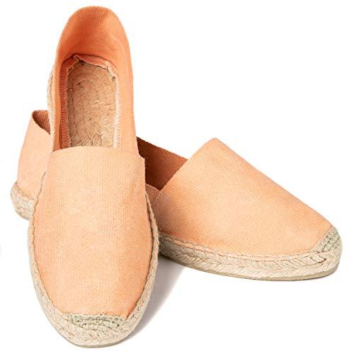 ESPADELLE Damen Slip-on Espadrilles aus Baumwolle mit Schuhbeutel, Papaya, 41 | Handmade in Spain Orange Slip On
