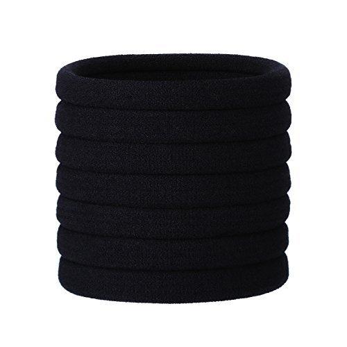 20 Stück Große Schwarz Baumwolle Stretchbar Haargummi Bands Seil Pferdeschwanz Halter Stirnband...