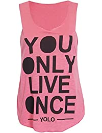 Womens Yolo You Only Live Once drucken Ladies Sleeveless Scoop Neck Stretch T-Shirt-Weste lässig Top 36-42