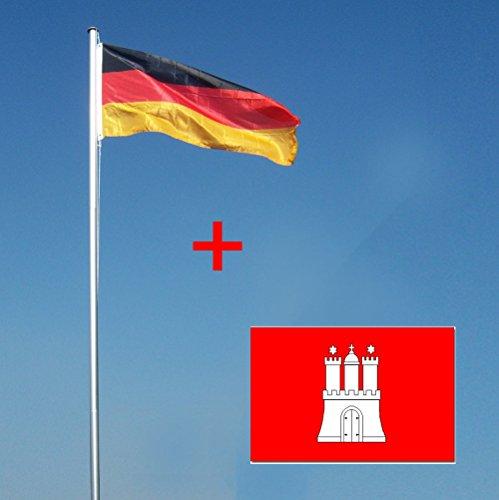 Wohnwerk! Flaggenmast 4m mit Deutschlandfahne und extra Fahne Ihrer Wahl! Fahnenmast (Hamburg, 4 Meter)