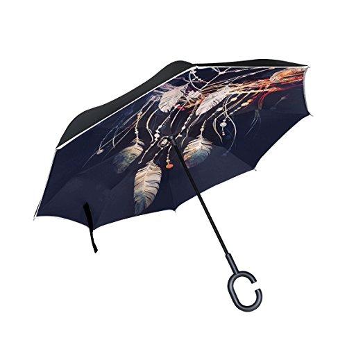 jstel doble capa invertida Atrapasueños Boho paraguas coches Reverse resistente al viento lluvia paraguas para coche al aire libre con asa en forma de C