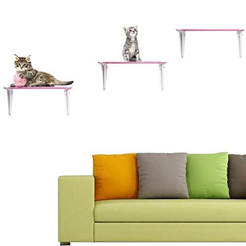 *Fetoo Katzen Kletterwand mit Treppe 3-teilig Wandmontage Schlafmatten für kleine Katzen (Pink)*