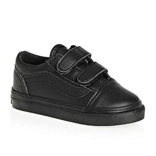 Vans Old Skool V Youth -Fall 2018-(VN0A344KPXP1) - (Classic Tumble) Black Mono - 5.5C