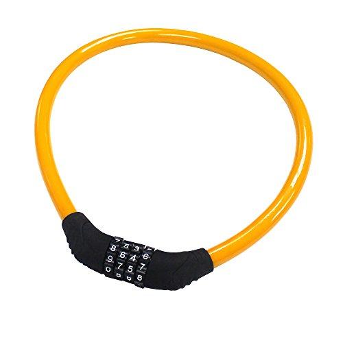 Fahrradschloss, BODECIN Rückstellende Kombination Sicherheits Kabel Lock Fahrrad Fahrrad Lock Ohne Halterung 2 feet x 1/2 inch(Orange)