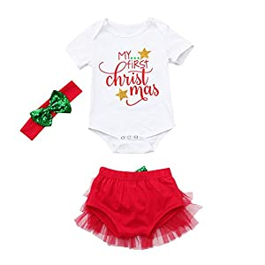 HCFKJ Ropa Bebe NiñA Invierno NiñO Manga Larga Camisetas BEB Conjuntos Moda ReciéN Nacidos BebéS Bebé NiñAs Navidad Letter Mameluco Tutú Pantalones Cortos Conjuntos 16