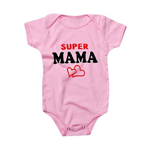 Livoral Neugeborene Bodysuit Bodysuit Valentinstag Kostüm, Baby I Mama Bodysuit(#3 Rosa,18-24 Monate)