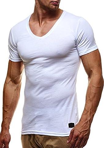 LEIF NELSON Herren Basic T-Shirt V-Ausschnitt Sweatshirt Hoodie Hoody LN6372; Grš§e M, Weiss