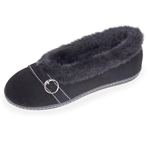 Suola Pantofole Isotoner Camoscio Ergonomica In Ballerine Donna Nero xfcqzUwpB