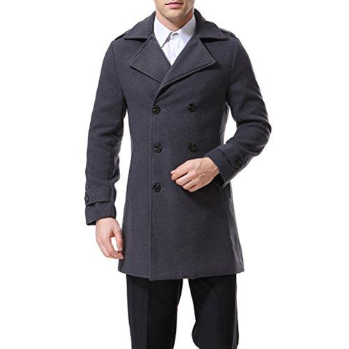 AOWOFS Herren Zweireiher Mantel Classic Reverskragen Slim Fit Trenchcoat 4 Farben (Breasted Mantel)