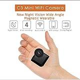 Jumedy Cámaras ocultas con mini espía de 140 grados Wifi, cámara portátil inalámbrica de niñera HD 1080P con visión nocturna y detección de movimiento Cámara de vigilancia de seguridad encubierta perf
