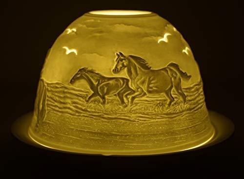 CBK-MS. Dom Light Teelicht Pferde am Strand Windlicht Porzellan Teelichthalter ca. Ø 12 cm Höhe 8,5 cm Pony Pferd Fohlen Reiter Meer