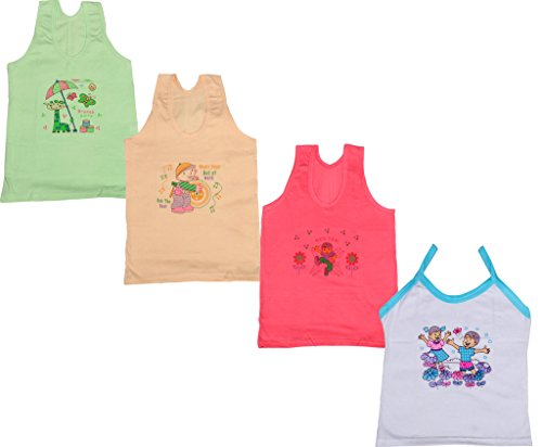 IndiWeaves Girls Pure Cotton Cartoon Print Slips/Vests (Pack of 4)_Multiple_4-6 Years
