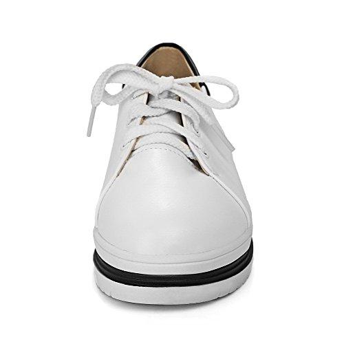 Bianco Assortito Luccichio Tacco Donna Colore VogueZone009 Punta Basso Ballet Tonda Allacciare Flats R8PC6qSw