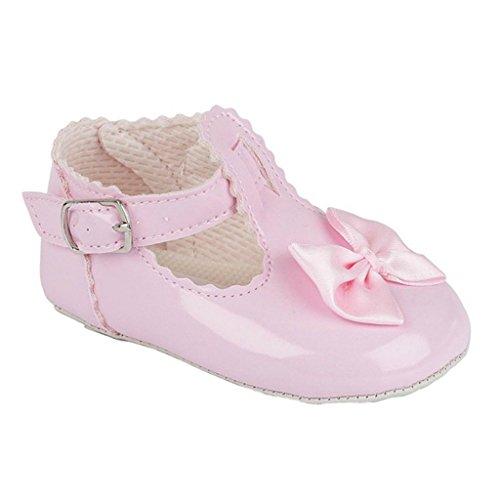 Baby Pram Schuhe für eine Hochzeit Taufe oder Party - T-Bar Satinschleife Rosa Patent EU 18 (6-12 monate)