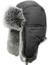 Insun Unisex Chapka Bordure en Fourrure Chapeau de Trappeur d hiver Anti  Vent Aviateur Casquette 6257a6174b5