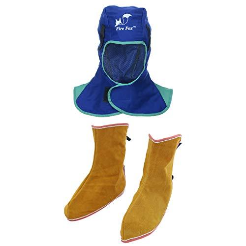 F Fityle Schweißerschutzkleidung Set Schweißen Schutzschild Maske Schweißhelm und Schuhe feuersicher Schweißen Schweißerhut -