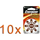 Type de 10 x 8 Blister Energizer Bouton aide auditive Cellule 312 / ZA312 / AC312E