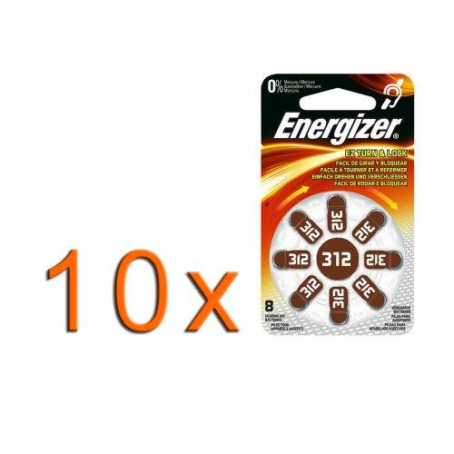 10 x 8er Blister Energizer Hörgeräte Knopfzelle/Batterie Typ 312 / ZA312 / AC312E