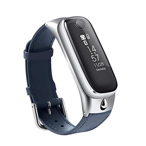 UMGZY Monitor de sueño Podómetro de Ritmo cardíaco Monitor de sueño con podómetro de Ritmo cardíaco Mini Pulsera Inteligente para iOS Android,Silver