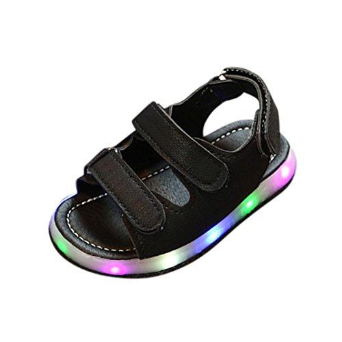 FNKDOR Kinder Baby Schuhe mit Licht Jungen Mädchen Sandalen LED Leuchtschuhe (27, Schwarz)