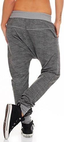 malito Damen Jogginghose mit Knopfleiste   Sporthose meliert   Baggy zum Tanzen   Sweatpants �?Trainingshose 7398 Grau