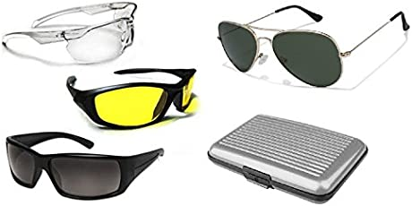 Inditradition Hd Vision Wraparound Glasses For Day & Night (Set Of 03), 01 Aviator Sunglass, 01 Aluma Wallet Unisex (Glasses_03Pc_Set|18 X 16 X 6 Cm|Black, Yellow, Transparent)