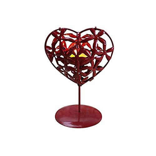 Amor Forma corazón Hueco candelabros Rojos Hierro