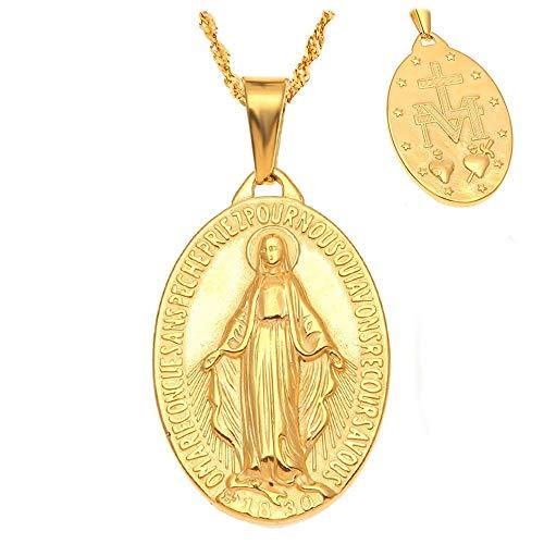 BOBIJOO Jewelry - Colgante Medalla De La Virgen Milagrosa De Acero Dorado Chapado En Oro De La Cadena De Singapur