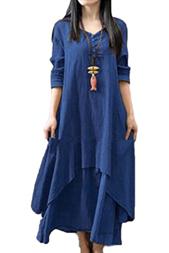 Yulinge Damen Elegant Kleid Baumwolle Vintage Beiläufige Langarm Boho Leinen Sommer Festlich Lange Kleider Blau XS (Blau Langarm-skater-kleid)