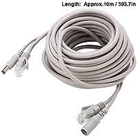 Wendry Cable Ethernet, Cable 2 en 1 El Cable de alimentación es Compatible con un Conector de 2,1 mm / 5,5 mm, Macho y Hembra para 5M / 10M / 15M / 20M Cable de CCTV Ethernet RJ45 + DC(10m)